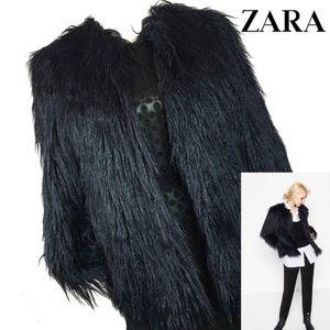 Zara Black FAUX LONG FUR SHAGGY JACKET NWOT Sz M